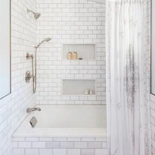 subway tile tub shower combo