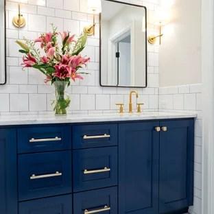 blue mosaic tile floor bathroom