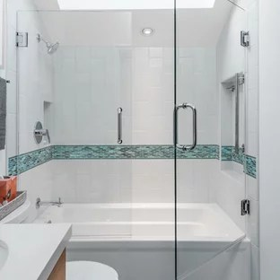 coastal bathroom with brown cabinets