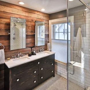 rustic subway tile bathroom