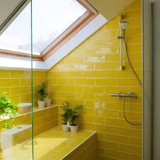 scandinavian yellow tile bathroom
