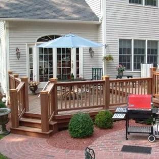 mahogany garden deck with paver patio