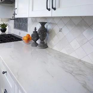 crema marfil marble backsplash houzz