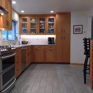 mid century modern ceramic tile kitchen