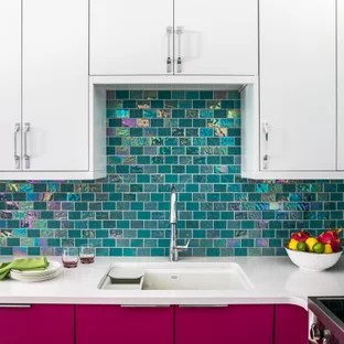 75 beautiful turquoise kitchen with