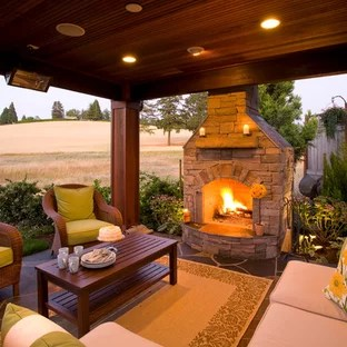 covered patios with fireplaces houzz