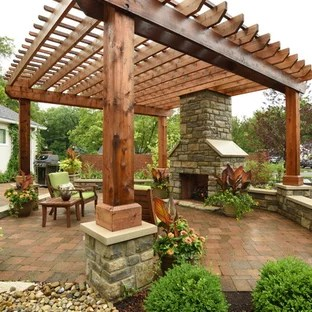 75 most popular outdoor with brick pavers and a pergola on Brick Pergola Designs id=20790