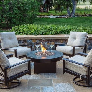 75 beautiful small patio with a fire