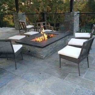 gray stamped concrete patio