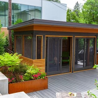 screened in porch with a pergola