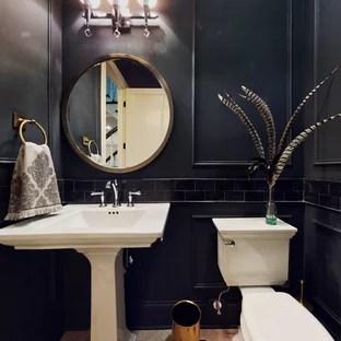 black tile powder room pictures ideas