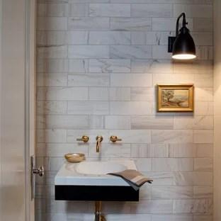 wall mounted faucet powder room vanity