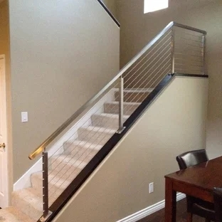 Stainless Steel Stair Rail Houzz   Stainless Steel Banister Rail   Ags Stainless   Satin Stainless   Metal Fabrication   Railing Designs   Cable Railing Kits
