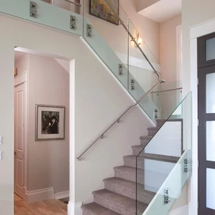 Glass Staircase Railing Houzz | Glass Railing Designs For Stairs | Spiral Staircase | Beautiful | Contemporary | Curved | Guardrail