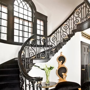 Black And White Staircase Ideas Houzz   Black And White Stairs Design   Farmhouse   Photography   Concept   Disappearing   Grey Background