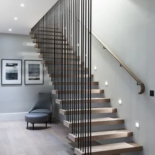 75 Beautiful Wood Stair Railing Pictures Ideas Houzz | Modern Wood Stair Railing | Creative Outdoor Stair | Traditional | Indoor | Balustrade | Cherry Wood
