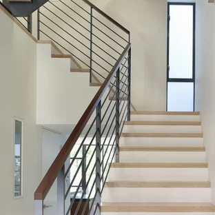 Wood And Metal Railing Houzz | Metal And Wood Interior Railings | Contemporary | Art Craft | Black Glass Interior | Wood Cap | Metal Exterior Brown