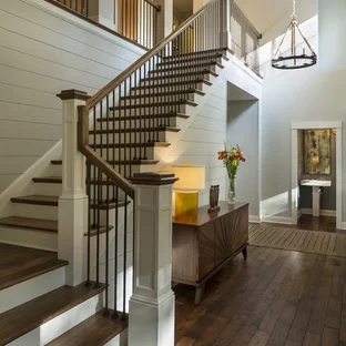75 Beautiful Staircase Pictures Ideas September 2020 Houzz | Simple Staircase Designs For Homes | Kitchen | Interior | Tiny | Simple 2Nd Floor House | Space Saving