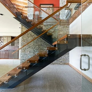 Wood And Glass Railings Houzz   Staircase Handrail Glass Designs   Crystal   Work   Steel   White Modern Glass   Stairs Side Grill