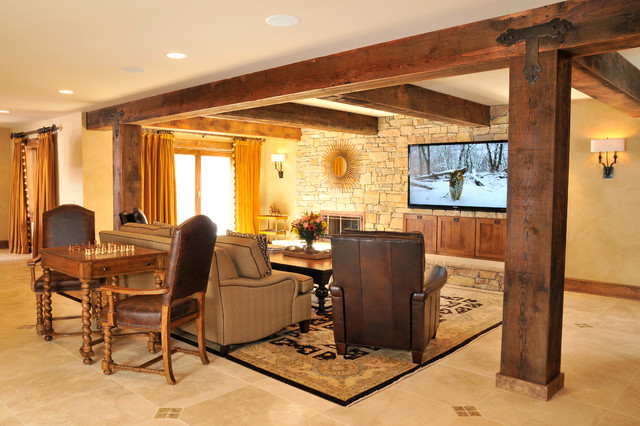 Rustic Lodge Style Basement Traditional Basement DC Metro By Sun Design Remodeling