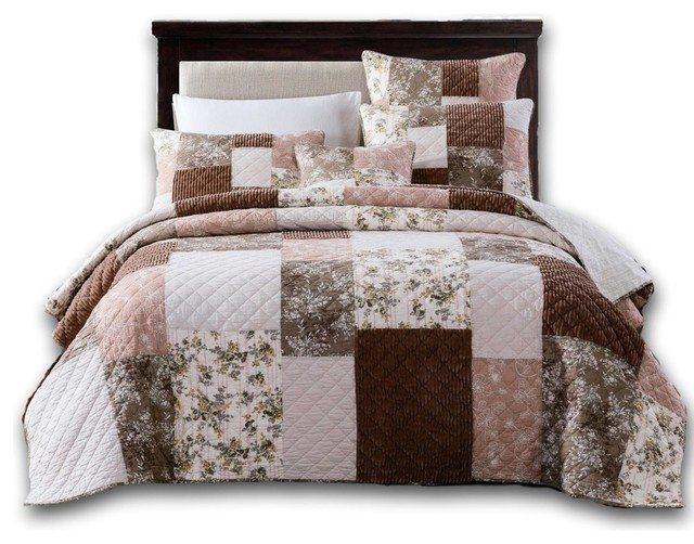 bohemian patchwork dusty rose pink chocolate brown floral bedspread set twin