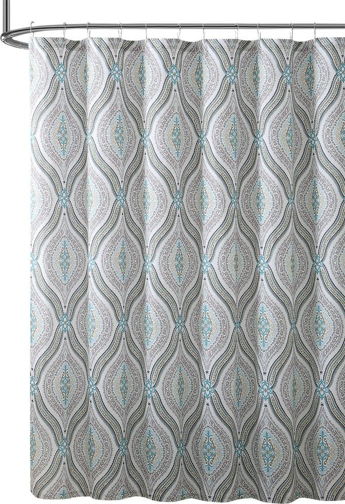 elegant fabric shower curtain teardrop paisley print blue brown