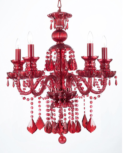 Ruby Red Crystal Chandelier 5 Light Traditional Chandeliers