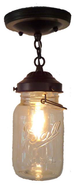 Blue Mason Jar Pendant Light