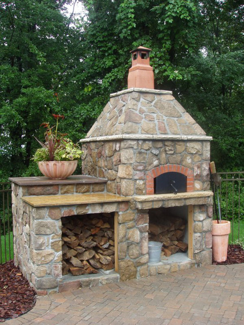 Outdoor Hip Roof Wood Fired Pizza Ovens - Mediterranean ... on Outdoor Patio With Pizza Oven  id=45510