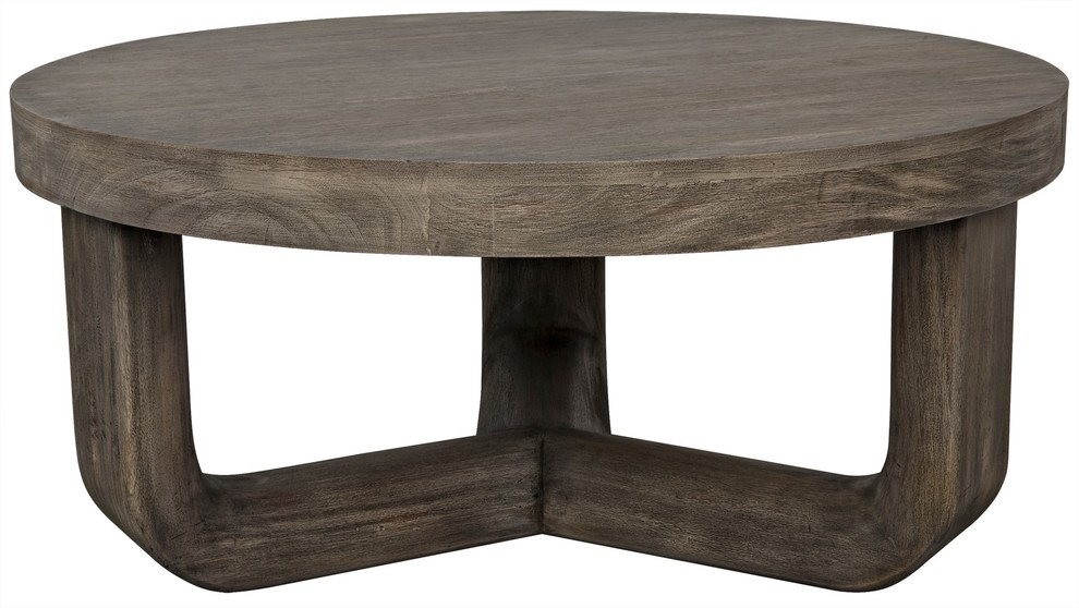 40 coffee table solid mahogany distressed grey natural round three rounded legs
