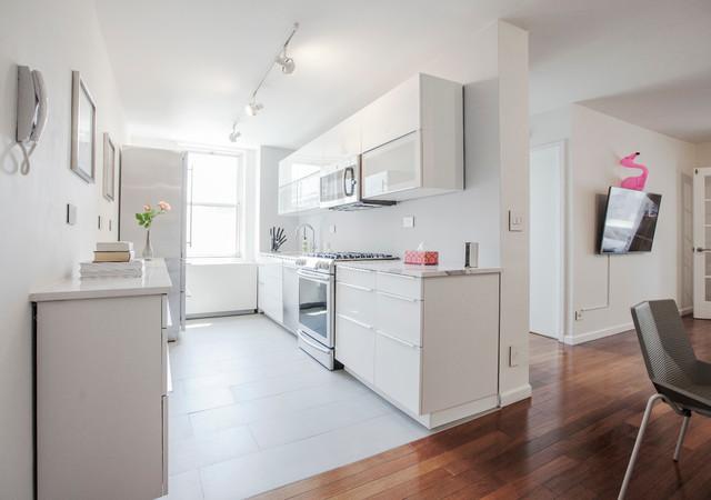 Kitchen W Ikea White Glossy Sektion Cabinets And Highend