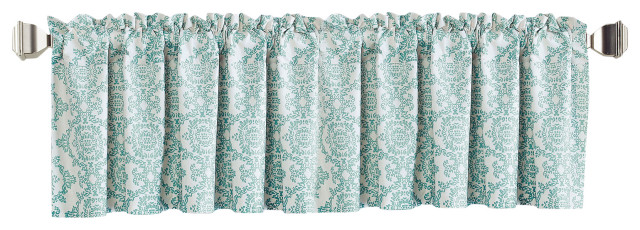 mystic printed 2 piece valance set teal and turquoise 60 x18