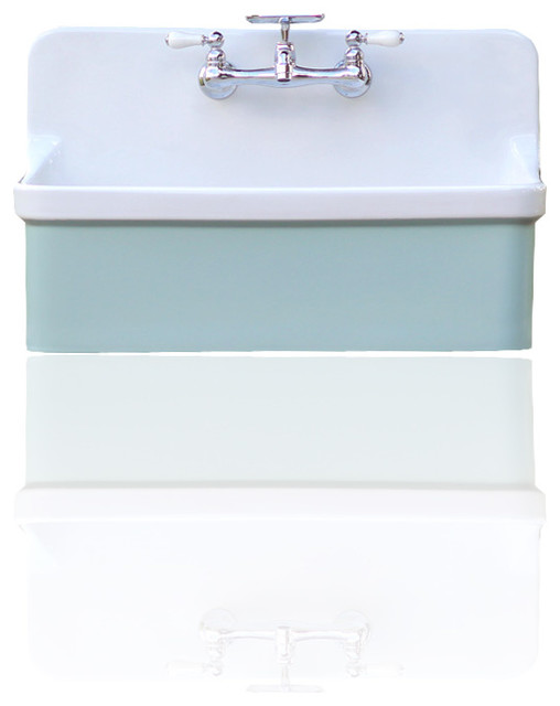 Shop Houzz Kohler Green Blue Vintage Style High Back Farm Sink Kohler Gilford Apron Utility