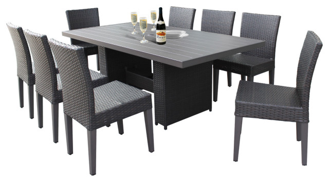 belle rectangular outdoor patio dining table with 8 armless chairs espresso