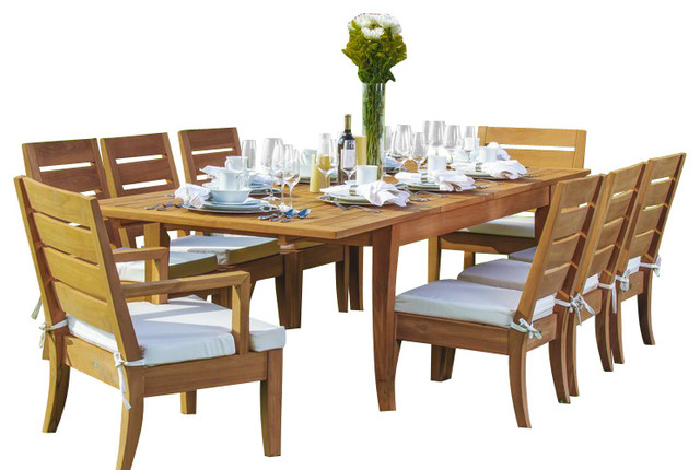 9-Piece Patio Teak Dining Set