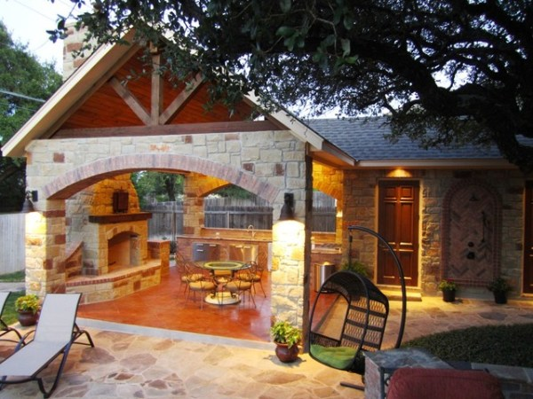 outdoor kitchen with pool and patio Rock Rock - Outdoor Kitchen, Shower, Bathroom & Pool