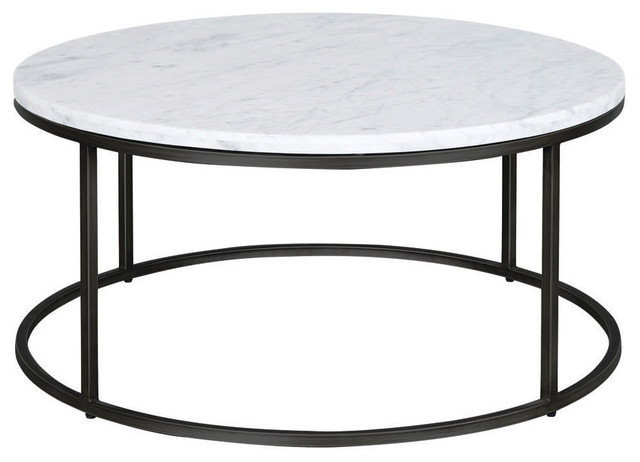 palliser furniture julien round cocktail table black base white marble top