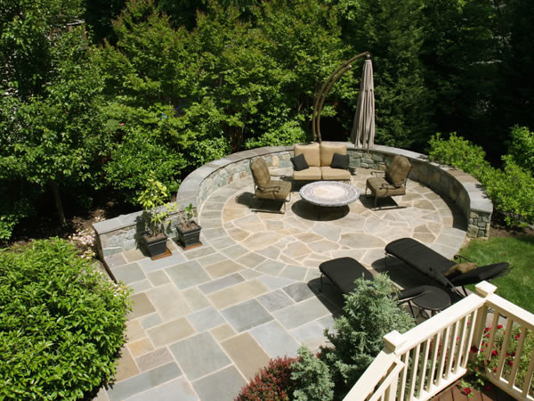 Circular Flagstone Patio on Steeply Sloped Backyard ... on Patio On A Slope Ideas id=68934