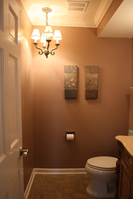Half Bath With Chandelier Traditional Powder Room Detroit