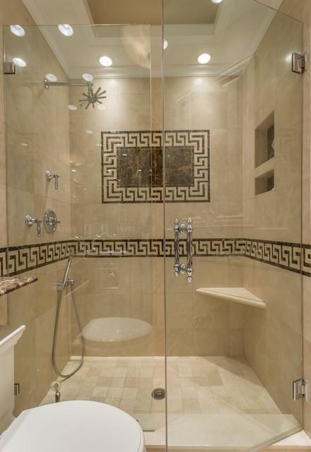 Greek Key Marble Bathroom Traditional Bathroom