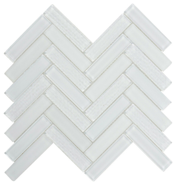 super white crystal glass matte blended herringbone mosaic tile backsplash