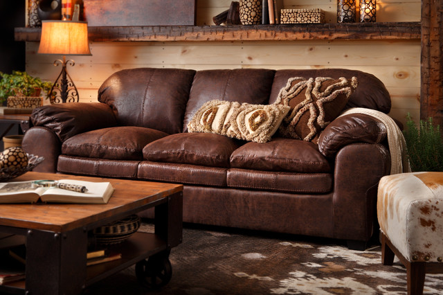 Rustic Leather Living Room Set