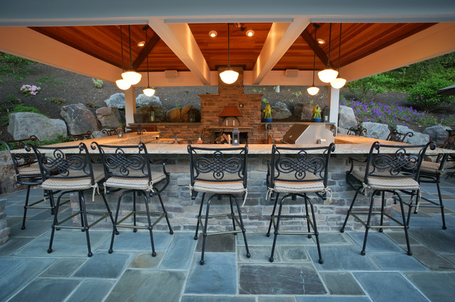 Outdoor kitchen with pizza oven - Traditional - Patio - DC ... on Outdoor Patio With Pizza Oven  id=38158