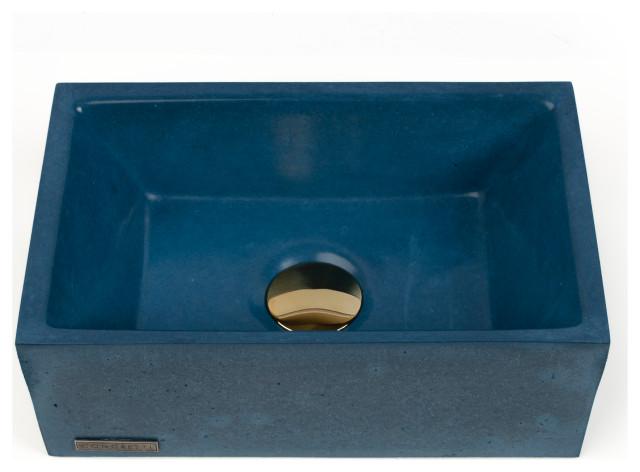 concrete vessel sink handmade small rectangle design modern washbasin dark