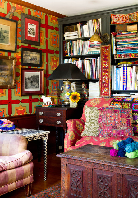 My Houzz: An Antique Cape Cod House Explodes With Color farmhouse-home-office