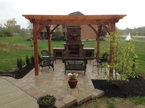 paver patio designs with fireplace Davenport Outdoor Kitchen, Outdoor Fireplace and Paver