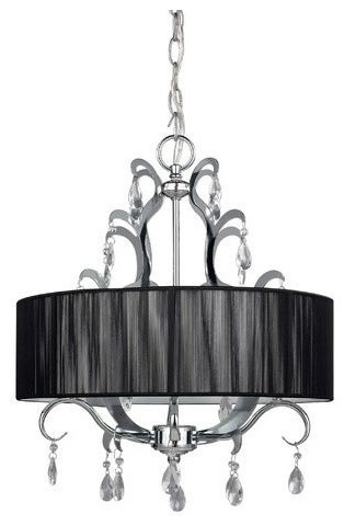 4 Light Crystal Chandelier With Black Drum Shade Chandeliers