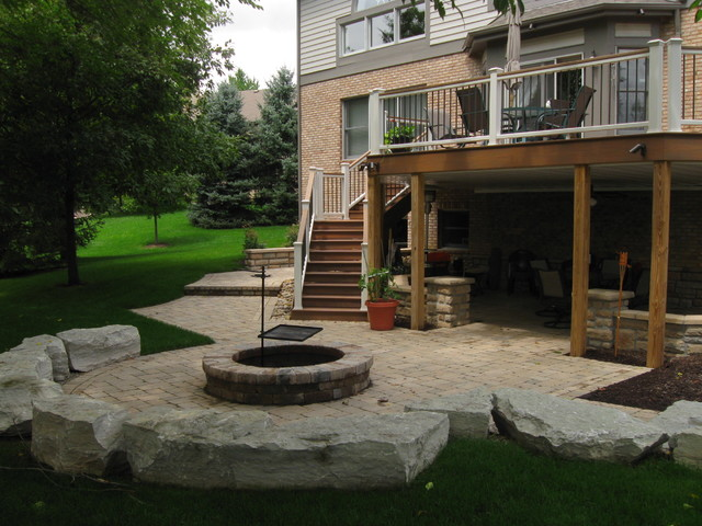 Centerville Walkout Patio with Waterfall and Fire Pit ... on Walkout Patio Ideas id=29294