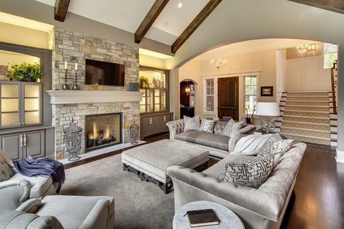 Elegant Great Room on a Budget - Tufted Sofas & Greige ... on Dream Home Interior  id=85638