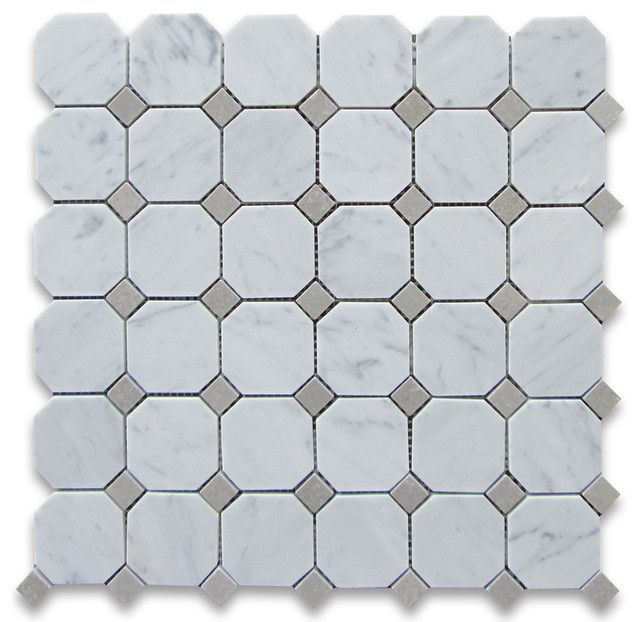 12 x12 carrara white octagon mosaic tile with gray dots polished chip size 2